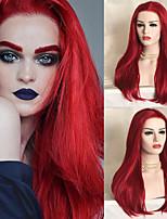Недорогие -синтетический парик фронта шнурка прямой стиль rihanna свободная часть парик фронта шнурка арбуз красный синтетический волос 26 дюймов женщин синтетический / легко одеваться / сексуальная леди красный