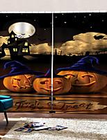 Недорогие -Creative Blackout Пользовательские оконные шторы 3d цифровая печать Хэллоуин тема тыква с голубой шляпой занавески гостиная / спальня студия ткани занавес