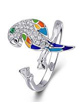 Недорогие -Стерлингового серебра 925 пробы светящийся кубический циркон попугай регулируемые открытые размеры кольца для женщин свадьба обручальные украшения размер 2 см * 1 см