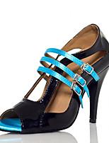 Недорогие -Жен. Полиуретан Обувь для латины Планка На каблуках Тонкий высокий каблук Персонализируемая Черный