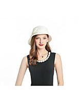 Недорогие -Жен. Для вечеринки Классический Симпатичные Стиль Панама Шляпа от солнца Солома,Однотонный Бежевый