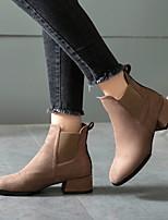 Недорогие -Жен. Ботинки На толстом каблуке Квадратный носок Замша Ботинки Наступила зима Черный / Верблюжий