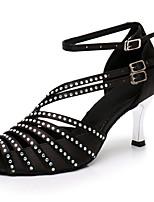 Недорогие -Жен. Танцевальная обувь Сатин Обувь для латины Стразы На каблуках Прозрачная пятка покрытая серебром Персонализируемая Черный / Выступление