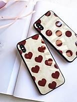 Недорогие -Кейс для Назначение Apple iPhone XS / iPhone XR / iPhone XS Max Зеркальная поверхность / Ультратонкий / С узором Кейс на заднюю панель Плитка / С сердцем ТПУ