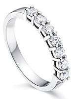 Недорогие -Для пары Кольцо 1шт Белый Серебряный Медь Круглый Классический корейский Мода Подарок Бижутерия