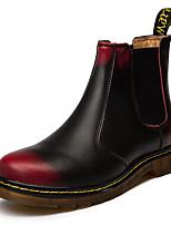 Недорогие -Универсальные Кожаные ботинки Кожа Наступила зима Ботинки Сапоги до середины икры Черный / Черный / Красный / Красный / на открытом воздухе / Fashion Boots / Армейские ботинки