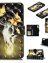 Недорогие -Кейс для Назначение SSamsung Galaxy Note 9 / Galaxy Note 10 / Galaxy Note 10 Plus Кошелек / Бумажник для карт / Защита от удара Чехол Бабочка Кожа PU