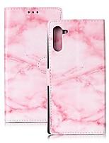 Недорогие -Кейс для Назначение SSamsung Galaxy Note 9 / Note 8 / Galaxy Note 10 Кошелек / Бумажник для карт / Защита от удара Чехол Мрамор Кожа PU