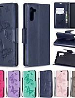 Недорогие -Кейс для Назначение SSamsung Galaxy Galaxy Note 10 / Galaxy Note 10 Plus Кошелек / Бумажник для карт / Защита от удара Чехол Однотонный / Бабочка Кожа PU