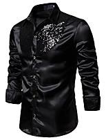 cheap -mens fashion button down shirts - long sleeve sequins tops casual slim fit shirt gold us xl