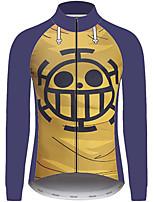 Недорогие -21Grams One Piece Трафальгарская Муж. Длинный рукав Велокофты - Голубой + Желтый Велоспорт Джерси Верхняя часть Устойчивость к УФ Дышащий Влагоотводящие Виды спорта 100% полиэстер Горные велосипеды