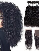 Недорогие -3 комплекта с закрытием Бразильские волосы Kinky Curly Натуральные волосы Необработанные натуральные волосы Головные уборы Человека ткет Волосы Пучок волос 8-20 дюймовый Естественный цвет