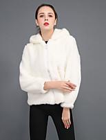 Недорогие -Жен. На выход Зима Длинная Пальто с мехом, Однотонный Капюшон Длинный рукав Искусственный мех Белый