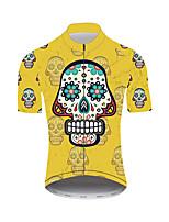 Недорогие -21Grams Сахарный череп Муж. С короткими рукавами Велокофты - Желтый Велоспорт Джерси Верхняя часть Дышащий Влагоотводящие Быстровысыхающий Виды спорта Нейлон Polyster / Слабоэластичная / троеборье