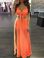 Недорогие -Жен. Оранжевый Комбинезоны, Однотонный Шнуровка S M L