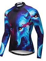 Недорогие -WEIMOSTAR 3D Животное Волк Муж. Длинный рукав Велокофты - Темно-синий Велоспорт Джерси Верхняя часть Дышащий Влагоотводящие Быстровысыхающий Виды спорта Полиэстер Эластан Терилен / Слабоэластичная