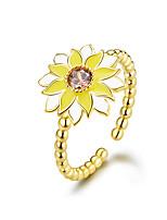 Недорогие -эмаль подсолнечное кольцо перстень корейский стиль ювелирные изделия регулируемое кольцо золотой цвет серебро 925 металл бижутерия