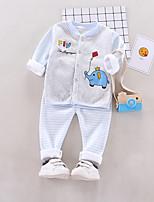 Недорогие -Дети (1-4 лет) Девочки Активный На каждый день Фантастические звери Мультипликация С принтом Длинный рукав Обычный Обычная Набор одежды Светло-синий