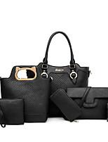 cheap -Women's Zipper PU Bag Set Striped 6 Pieces Purse Set Black / Brown / Blushing Pink