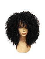 Недорогие -Парики из искусственных волос Афро Квинки Стиль Стрижка каскад Без шапочки-основы Парик Черный Черный Шоколадный Искусственные волосы 28~32 дюймовый Жен. Новое поступление Черный / Темно-коричневый