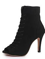 Недорогие -Жен. Ботинки На шпильке Открытый мыс Замша Ботинки Лето Черный / Зеленый / Красный