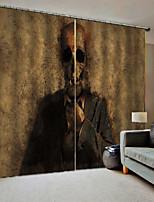 Недорогие -3d печать современный простой затемненный звукоизоляционный стиль террора пользовательские ткани для штор для спальни / гостиной / бар