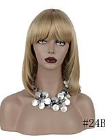 Недорогие -Парики из искусственных волос Прямой Стиль Аккуратная челка Без шапочки-основы Парик Золотистый Светло-золотой Мед блондинку Отбеливатель Blonde Искусственные волосы 16 дюймовый Жен. синтетический