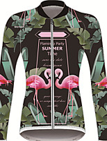 Недорогие -21Grams Фламинго Цветочные ботанический Жен. Длинный рукав Велокофты - Травянисто-зелёный Велоспорт Джерси Верхняя часть Устойчивость к УФ Дышащий Влагоотводящие Виды спорта Зима 100% полиэстер