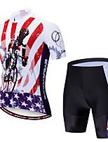 Недорогие -EVERVOLVE Американский / США Флаги Муж. С короткими рукавами Велокофты и велошорты - Красный + черный Велоспорт Наборы одежды Дышащий Влагоотводящие Быстровысыхающий Виды спорта Polyster Лайкра
