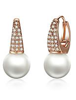 Недорогие -серьги из розового золота для женщин с искусственным жемчугом&усилитель; серьги с кристаллами для женщин в серьгах с подвесками