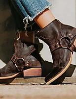 Недорогие -Жен. Ботинки На толстом каблуке Заостренный носок Полиуретан Ботинки Наступила зима Черный / Коричневый