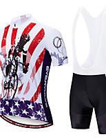 Недорогие -EVERVOLVE Американский / США Флаги Муж. С короткими рукавами Велокофты и велошорты-комбинезоны - Черный Белый Велоспорт Наборы одежды Дышащий Влагоотводящие Быстровысыхающий Виды спорта Polyster