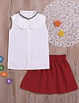 Недорогие -Дети Дети (1-4 лет) Девочки Классический Однотонный Без рукавов Набор одежды Белый