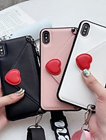 cheap -Case For Apple iPhone XR / iPhone XS Max / iPhone 6s Plus Shockproof Back Cover Heart / Solid Colored PU Leather / TPU