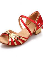 Недорогие -Девочки Танцевальная обувь Сатин Обувь для латины На каблуках Толстая каблук Коричневый / Красный / Синий / Тренировочные