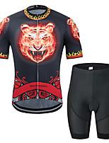 Недорогие -MUBODO Животное Tiger Жен. С короткими рукавами Велокофты и велошорты - Черный / красный Велоспорт Наборы одежды Дышащий Влагоотводящие Быстровысыхающий Виды спорта Тюль / Эластичная