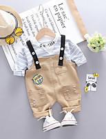 Недорогие -Дети (1-4 лет) Мальчики Активный Классический Полоски Длинный рукав Обычный Обычная Набор одежды Черный