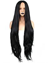 Недорогие -Синтетические кружевные передние парики / Плетение Волнистый Kardashian Стиль Свободная часть Лента спереди Парик Черный Черный Искусственные волосы 32 дюймовый Жен. / Без запаха / Жаропрочная