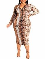 Недорогие -Жен. Уличный стиль Панк & Готика Облегающий силуэт Оболочка Платье - Геометрический принт, Пэчворк С принтом Средней длины