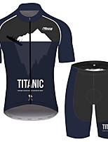Недорогие -21Grams титановый Муж. С короткими рукавами Велокофты и велошорты - Черный / Белый Велоспорт Наборы одежды Дышащий Влагоотводящие Быстровысыхающий Виды спорта 100% полиэстер Горные велосипеды Одежда