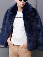 Недорогие -Муж. Для вечеринок / Офис Уличный стиль / Панк & Готика Наступила зима Обычная Искусственное меховое пальто, Однотонный Рубашечный воротник Длинный рукав Искусственный мех Черный / Белый / Синий US32