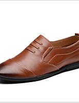 Недорогие -Муж. Комфортная обувь Кожа Лето Мокасины и Свитер Дышащий Черный / Коричневый / Хаки
