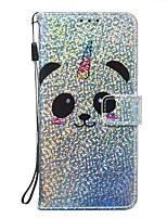 Недорогие -чехол для google pixel 4 / google pixel 4 xl кошелек / держатель карты / с подставкой для всего тела panda / блеск блеск искусственная кожа