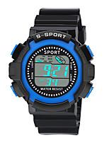 Недорогие -Мальчики электронные часы Цифровой Спортивные Стильные Кожа Черный 30 m Защита от влаги Фосфоресцирующий Повседневные часы Цифровой На каждый день Мода - Черный Зеленый Оранжевый / Один год