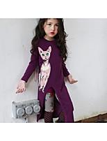 Недорогие -Дети Дети (1-4 лет) Девочки Классический Изысканный Кот Однотонный Животное С разрезами С принтом Длинный рукав Ассиметричное Платье Лиловый