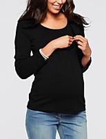 abordables -Tee-shirt Femme, Couleur Pleine Mosaïque Basique Noir Noir