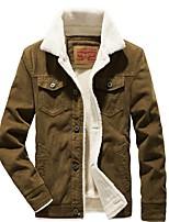 Недорогие -Муж. Повседневные Классический Обычная Куртка, Однотонный Отложной Длинный рукав Полиэстер Синий / Коричневый / Серый US34 / UK34 / EU42 / US36 / UK36 / EU44 / US38 / UK38 / EU46