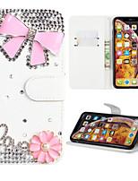 Недорогие -Кейс для Назначение SSamsung Galaxy S9 / S9 Plus / S8 Plus Кошелек / Бумажник для карт / Стразы Чехол Цветы Кожа PU