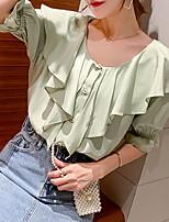 Недорогие -Жен. Блуза Однотонный Белый