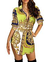 Недорогие -Жен. Богемный Уличный стиль Рубашка Платье - Контрастных цветов, Пэчворк С принтом Ассиметричное
